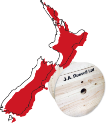 Map of New Zealand with a cable drum